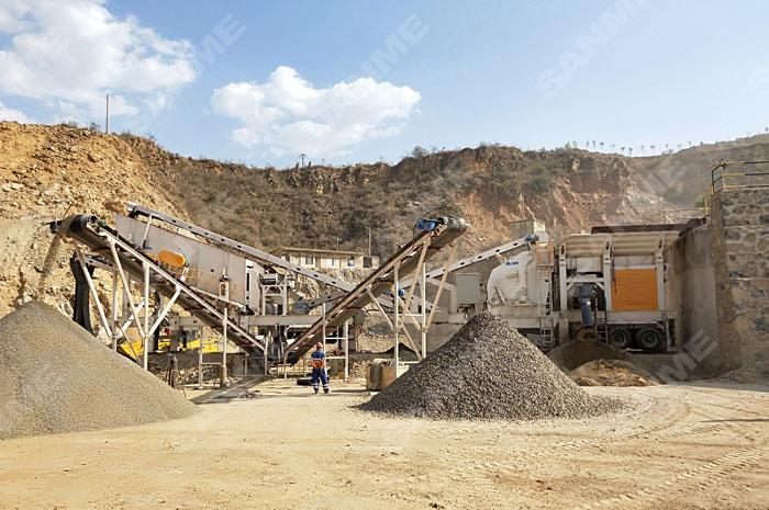 華新水泥雲南紅河時產200噸移動式石灰石破碎生(sheng)產線(xian)