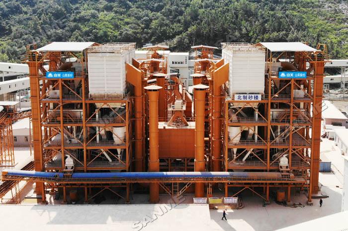 中電建安徽池州長九(神山)時產800噸精品樓站式(shi)機制砂生產線