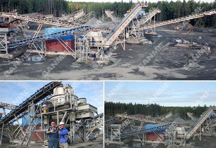 俄罗斯辉绿岩制砂生产线设备配置示意图
