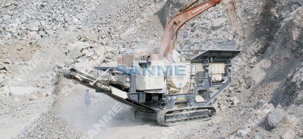 山西时产150吨移动式花岗岩破碎生产线