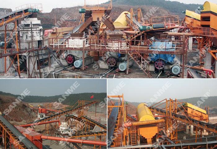 浙江时产350吨玄武岩制砂生产线设备配置示意图
