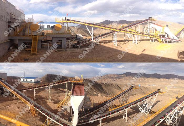 青海时产600吨石灰石破碎生产线设备配置示意图