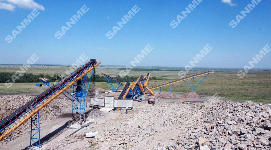 哈萨克斯坦时产330吨花岗岩破碎生产线设备配置示意图