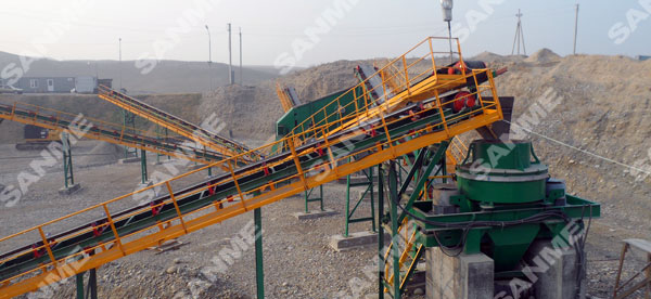 塔吉克斯坦时产100吨河卵石制砂生产线