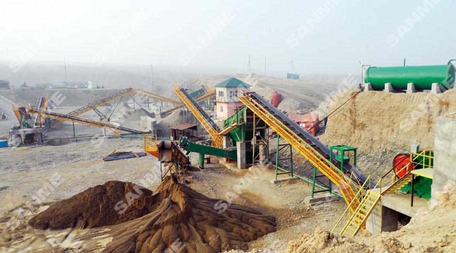 塔吉克斯坦时产100吨河卵石制砂生产线设备配置示意图