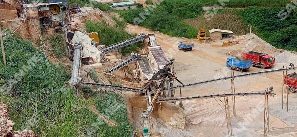 云南时产180吨石灰石破碎生产线
