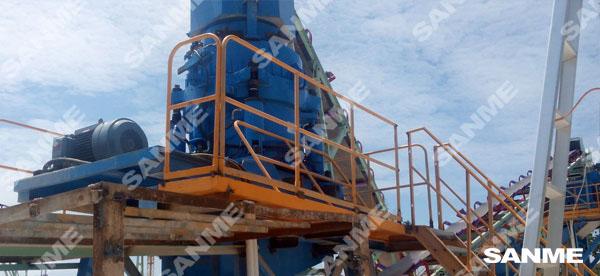 海螺印尼时产100吨河卵石制砂生产线
