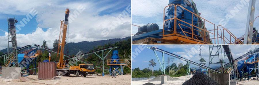 海螺印尼时产100吨河卵石制砂生产线设备配置示意图