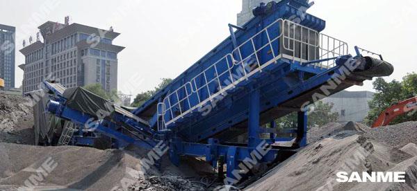 湖北武汉时产200吨轮胎移动式建筑垃圾处理生产线