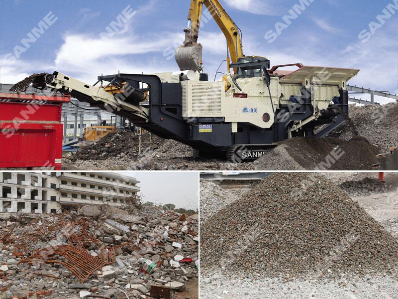 江苏南京时产100吨履带移动式建筑垃圾处理生产线设备配置示意图