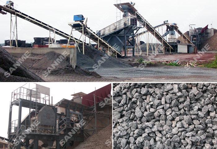 贝宁时产150吨花岗岩破碎生产线设备配置示意图