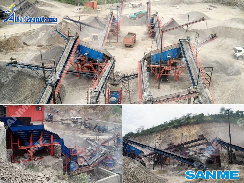 印尼时产300吨安山岩破碎生产线设备配置示意图