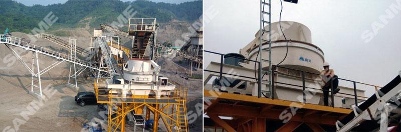 印尼时产100吨安山岩制砂生产线设备配置示意图