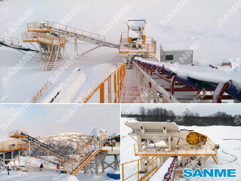 俄罗斯时产100吨辉绿岩破碎生产线设备配置示意图