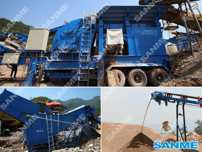 浙江东阳时产100吨移动式建筑垃圾处理生产线设备配置示意图