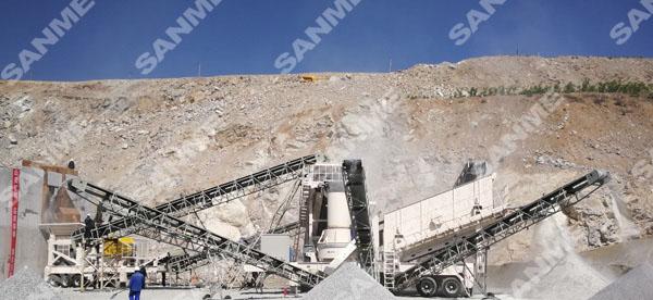 陕西时产250吨移动式花岗岩制砂生产线
