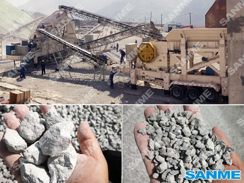 陕西时产250吨移动式花岗岩制砂生产线设备配置示意图