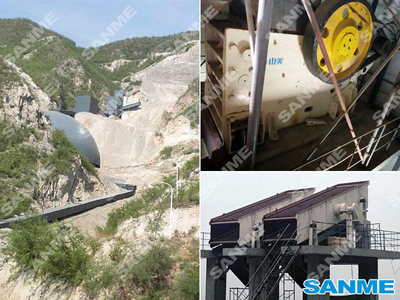 山西临汾时产500吨石灰石破碎生产线设备配置示意图