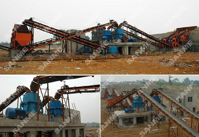 四川时产400吨鹅卵石制砂生产线设备配置示意图