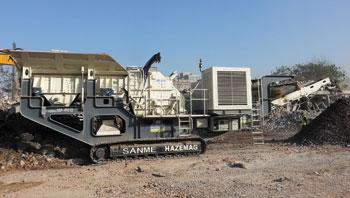 河南时产100吨履带移动式建筑垃圾处理生产线