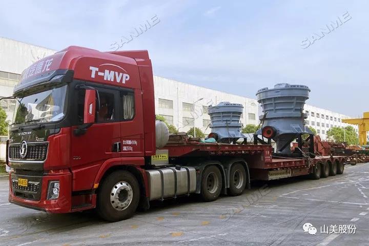 发货 上海山美股份4台大型圆锥破碎机奔赴河南信阳时产1400吨尾矿制砂项目现场