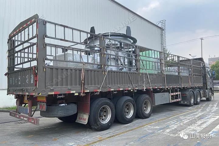 发货 上海山美股份高性能液压圆锥破碎机助力辽宁年产200万吨花岗岩砂石骨料项目