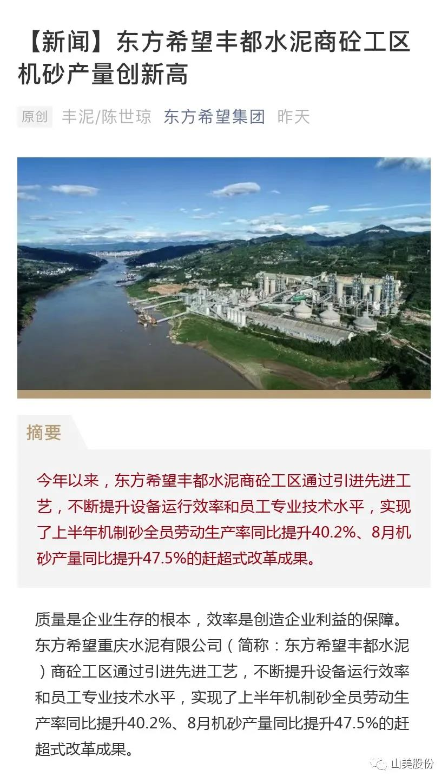 上海山美股份高品质楼站式制砂系统助力东方希望丰都水泥商砼工区机砂产量创新高